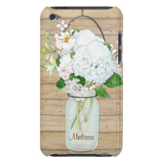 Rustic Country Mason Jar Flowers White Hydrangeas iPod Touch Cover