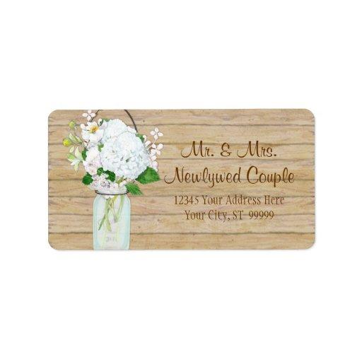 Rustic Country Mason Jar Flowers White Hydrangeas Address Label