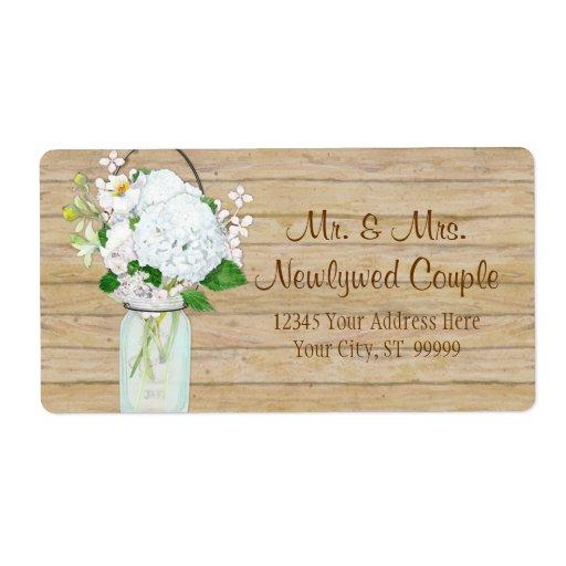 Rustic Country Mason Jar Flowers White Hydrangeas Shipping Labels