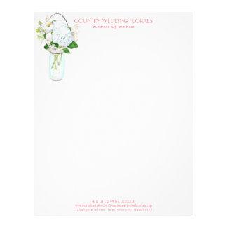 Rustic Country Mason Jar Flowers White Hydrangeas Letterhead