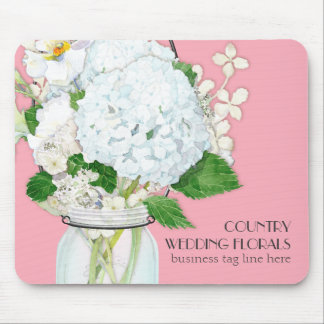 Rustic Country Mason Jar Flowers White Hydrangeas Mouse Pad