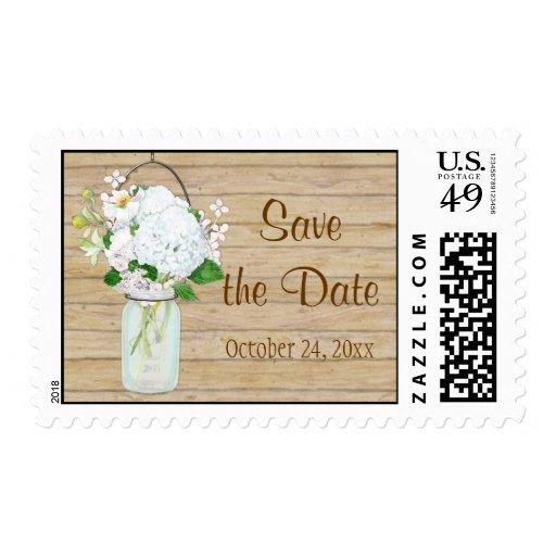 Rustic Country Mason Jar Flowers White Hydrangeas Stamps
