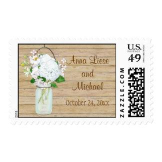 Rustic Country Mason Jar Flowers White Hydrangeas Postage Stamp
