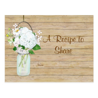 Rustic Country Mason Jar Flowers White Hydrangeas Post Card
