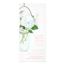 Rustic Country Mason Jar Flowers White Hydrangeas Rack Card