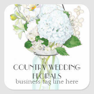 Rustic Country Mason Jar Flowers White Hydrangeas Square Sticker