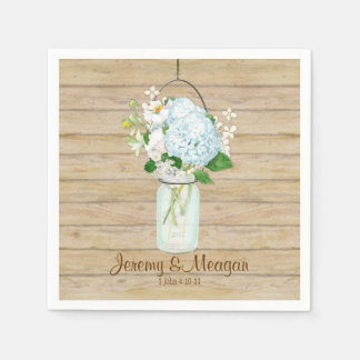 Rustic Country Mason Jar Flowers White Hydrangeas Disposable Napkins