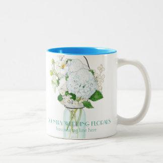 Rustic Country Mason Jar Flowers White Hydrangeas Two-Tone Coffee Mug
