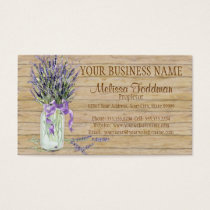 Rustic Country Mason Jar French Lavender Bouquet Business Card
