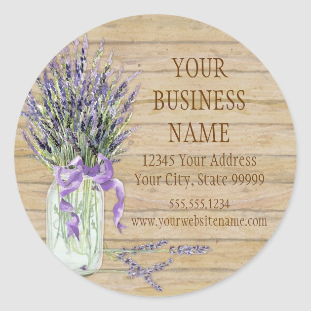 Rustic Country Mason Jar French Lavender Bouquet Classic Round Sticker Zazzle Com