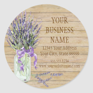 Rustic Country Mason Jar French Lavender Bouquet Classic Round Sticker
