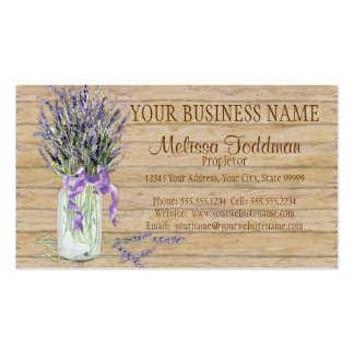 Rustic Country Mason Jar French Lavender Bouquet Double-Sided Standard Business Cards (Pack Of 100)