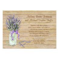 Rustic Country Mason Jar French Lavender Bouquet Invitation