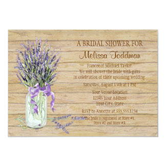 "Rustic Country Mason Jar French Lavender Bouquet 5"" X 7"" Invitation Card"