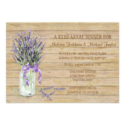 Rustic Country Mason Jar French Lavender Bouquet Invites