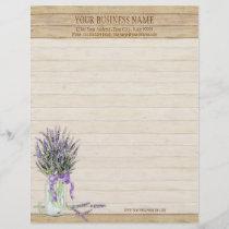 Rustic Country Mason Jar French Lavender Bouquet Letterhead