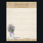 """Rustic Country Mason Jar French Lavender Bouquet Letterhead<br><div class=""""desc"""">Custom Personalized Business Letterhead stationery, that is perfect for florist, floral related businesses or lavender farms, gift shops or crafting enterprises. COLOR PALETTE: purple, lavender, grey, brown DESIGN COLLECTION: This Rustic Country Farm Floral Style Wedding Invitation Set was created from hand painted watercolor artwork created by Audrey Jeanne Roberts. The...</div>"""