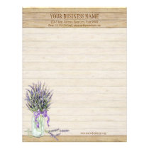 Rustic Country Mason Jar French Lavender Bouquet Letterhead