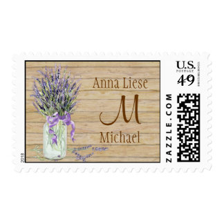 Rustic Country Mason Jar French Lavender Bouquet Postage Stamp