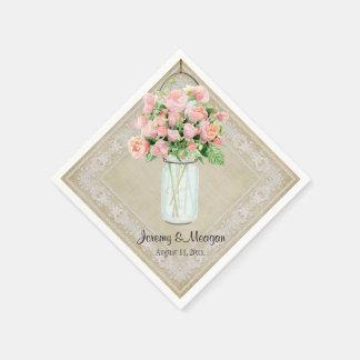 Rustic Country Mason Jar Handkerchief Blush Roses Napkin