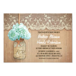 rustic country mason jar hydrangea wedding 5x7 paper invitation card