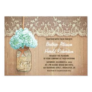 """rustic country mason jar hydrangea wedding 5"""" x 7"""" invitation card"""