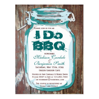 Rustic Country Mason Jar I Do BBQ Postcards