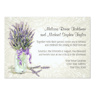 Rustic Country Mason Jar Lace n Lavender Floral 5x7 Paper Invitation Card
