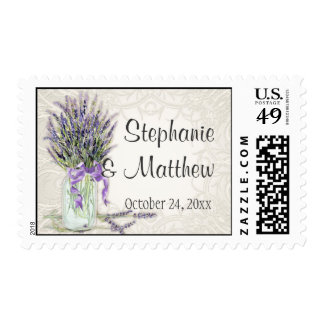 Rustic Country Mason Jar Lace n Lavender Floral Postage Stamp