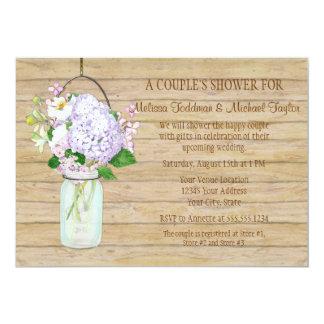Rustic Country Mason Jar Lavender Floral Hydrangea Card