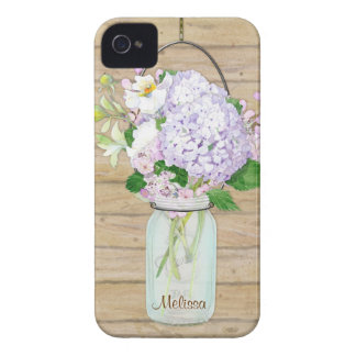 Rustic Country Mason Jar Lavender Floral Hydrangea iPhone 4 Cases