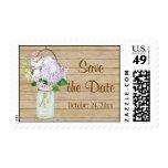 Rustic Country Mason Jar Lavender Floral Hydrangea Stamp