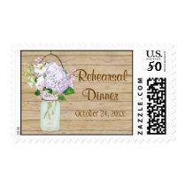 Rustic Country Mason Jar Lavender Floral Hydrangea Postage