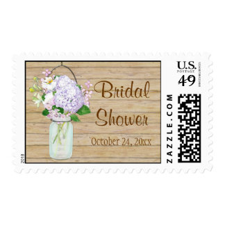 Rustic Country Mason Jar Lavender Floral Hydrangea Stamp