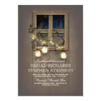 Rustic Country | Mason Jar Lights Fall Wedding Card