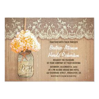 rustic country mason jar peach hydrangea wedding card