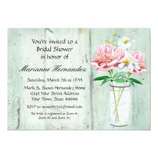 Rustic Country Mason Jar Peony Poppy Bouquet Pink Card