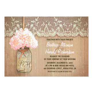 rustic country mason jar pink hydrangea wedding card