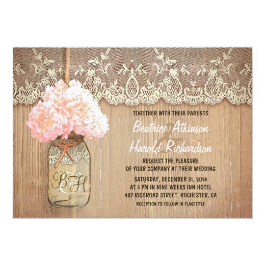 Rustic Country Mason Jar Pink Hydrangea Wedding Card Zazzle Com