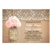 rustic country mason jar pink hydrangea wedding announcements