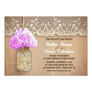 rustic country mason jar purple hydrangea wedding invites