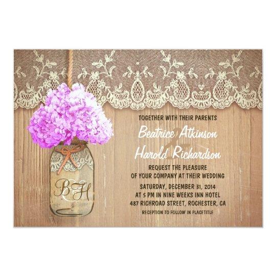 Purple Rustic Wedding Invitations: Rustic Country Mason Jar Purple Hydrangea Wedding