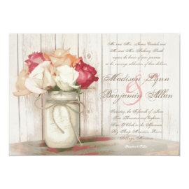 Rustic Country Mason Jar Roses Wedding Invitations 5