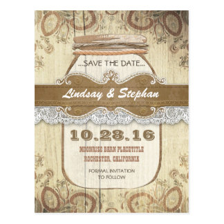 rustic country mason jar save the date postcards