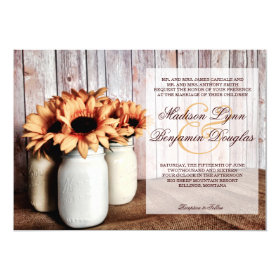 Rustic Country Mason Jar Sunflowers Wedding Invite
