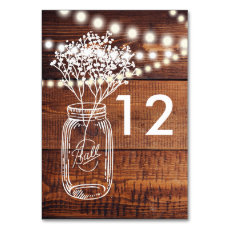 RUSTIC COUNTRY MASON JAR TABLE NUMBER CARDS