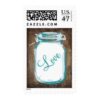 Rustic Country Mason Jar Teal LOVE Stamps