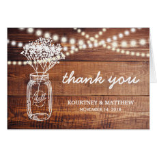 RUSTIC COUNTRY MASON JAR THANK YOU CARD