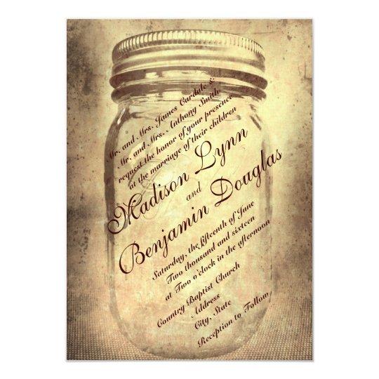 Wedding Invitations Mason Jar: Rustic Country Mason Jar Wedding Invitations