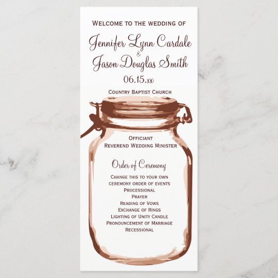 Rustic Country Mason Jar Wedding Programs